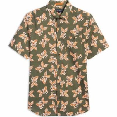 テッドベーカー TED BAKER LONDON メンズ 半袖シャツ トップス Floral Print Short Sleeve Button-Down Shirt Khaki