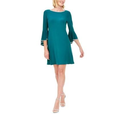 ミスク レディース ワンピース トップス Rhinestone-Trim Bell-Sleeve Dress