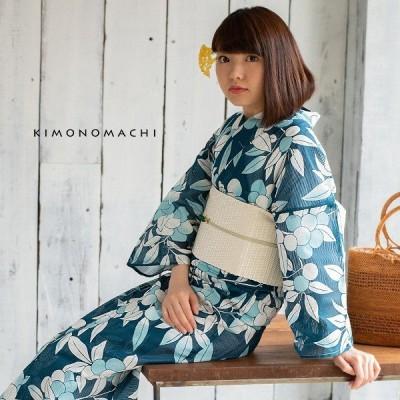 浴衣 レディース 「木の実 縹色」綿絽 大人 女性浴衣単品 夏着物 オリジナル KIMONOMACHI 30代 40代 50代 (メール便不可)