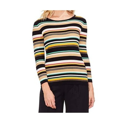 Vince Camuto Womens Long Sleeve Multicolor Ribbed Sweater Rich Black SM並行輸入