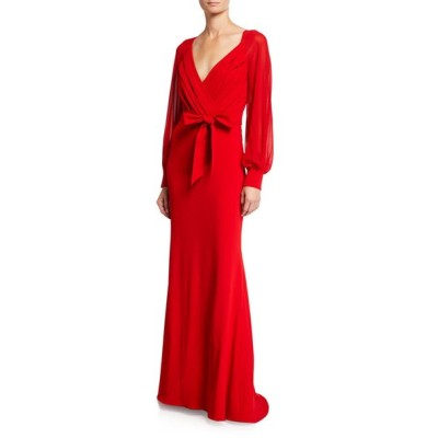 バッドグレイミッシカ レディース ワンピース トップス Long-Sleeve Mock-Wrap Crepe Gown