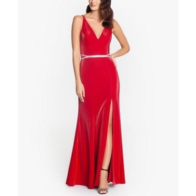 エスケープ ワンピース トップス レディース V-Neck Embellished-Waist Gown Red