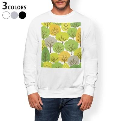 トレーナー メンズ 長袖 ホワイト グレー ブラック XS S M L XL 2XL sweatshirt trainer 裏起毛 スウェット 植物 木 イラスト 緑 グリーン 008094