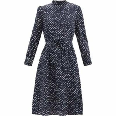 アーペーセー A.P.C. レディース ワンピース ワンピース・ドレス Caroline polka dot silk-crepe dress Navy