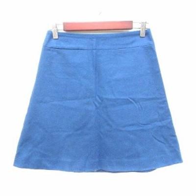 【中古】パンソー Pinceau 台形スカート ミニ ウール 38 青 ブルー /YK レディース