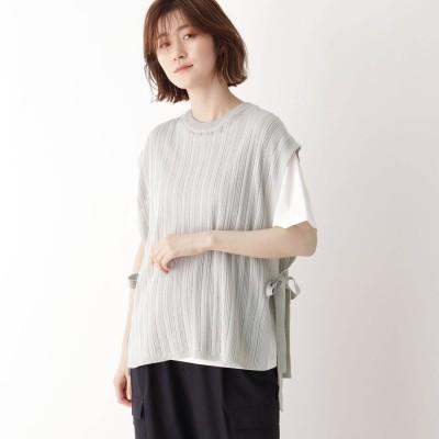 シューラルー SHOO-LA-RUE 【2点セット】ニットベスト×Tシャツ (ライトグレー)