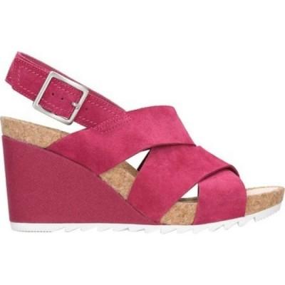 クラークス Clarks レディース サンダル・ミュール ウェッジソール シューズ・靴 Flex Sand Wedge Sandal Fuchsia Suede