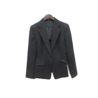【中古】アンタイトル UNTITLED テーラードジャケット シングル 背抜き ストライプ ウール 1 黒 ブラック /CT レディース 【ベクトル 古着】