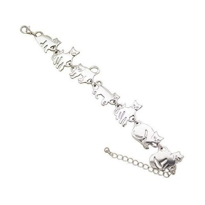 ラシックくRechicGu 銀 エジプト バステト猫 子猫 ペット動物のチャーム チェーン リンク ブレスレット バングル 腕輪 ギフト