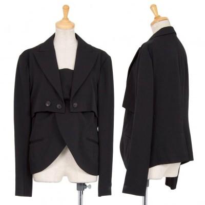 ワイズY's ウールギャバスリット切替デザインジャケット 黒2 【レディース】