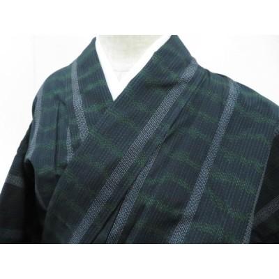 宗sou 紬 幾何学縞文 着物【リサイクル】【着】