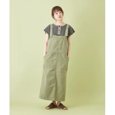 ムラ糸 バックサテン サロペットスカート