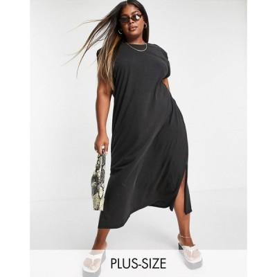 オンリーカーブ Only Curve レディース ワンピース organic cotton jersey midi dress with shoulder pads and side splits in washed black ブラック