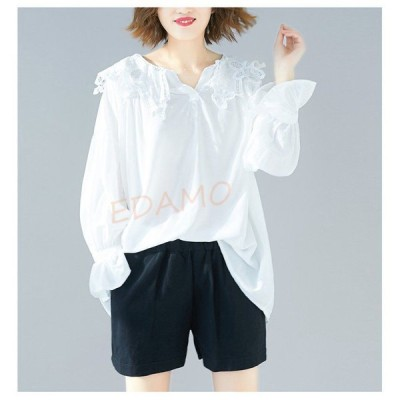 シャツ レディース ブラウス トップス 春 夏 vネック プルオーバー 無地 長袖 綿 コットンリネン tシャツ 30代 40代 2色