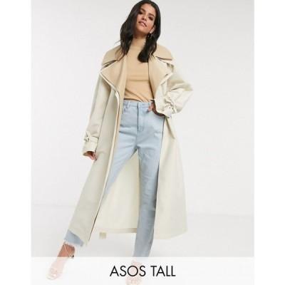 エイソス ASOS Tall レディース トレンチコート アウター ASOS DESIGN Tall double layer oversized trench coat in stone ベージュ