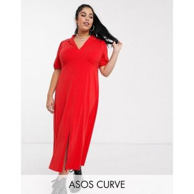 エイソス レディース ワンピース トップス ASOS DESIGN Curve ultimate midi tea dress with collar in red