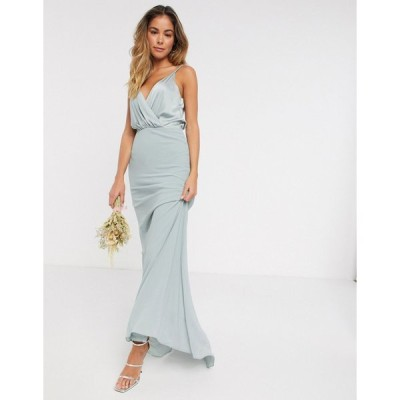 ティーエフエヌシー マキシドレス レディース TFNC bridesmaid contrast wrap cami maxi dress in sage エイソス ASOS