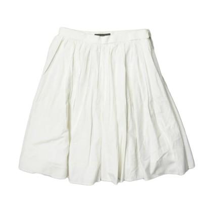 デミルクス ビームス Demi-Luxe BEAMS ギャザープリーツフレアスカート 6827-0106-1690 36 ホワイト コットン ボトムス