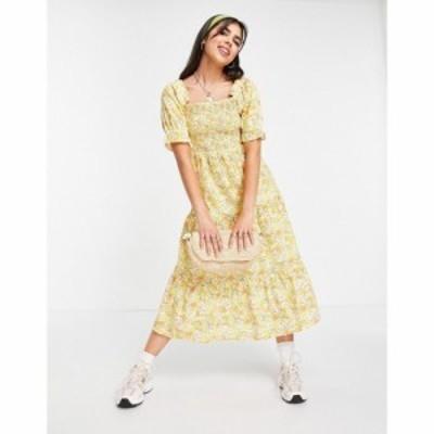 インフルエンス Influence レディース ワンピース Aライン ワンピース・ドレス floral tiered smock dress in yellow マルチカラー