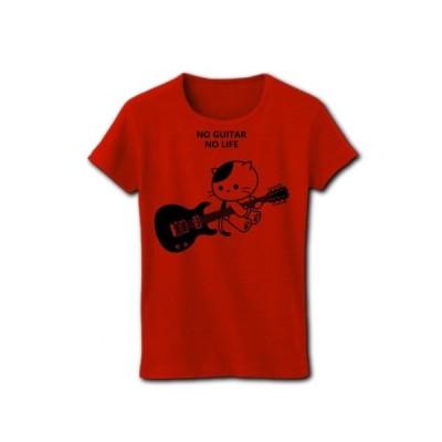 エレキギターを弾くねこ リブクルーネックTシャツ(レッド)