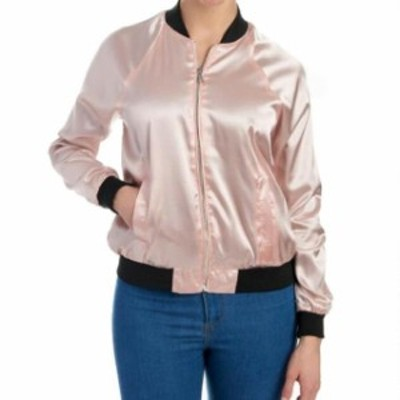 ファッション 衣類 Baccini Womens Jacket Blush Pink Size PXL Petite Bomber Shiny Full Zip