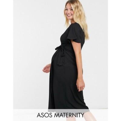 エイソス ASOS Maternity レディース ワンピース ASOS DESIGN Maternity textured midi wrap dress with flutter sleeve in black