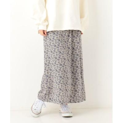 【アルシーヴ】 A−小花柄ロングセミフレアスカート レディース ブルー M archives