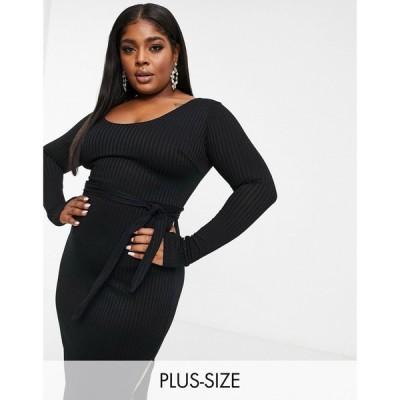 クラブエル ロンドン Club L London Plus レディース ワンピース ミドル丈 Scoop Neck High Thigh Split Midi Dress With Belt In Black ブラック