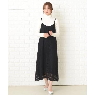 【レースレディース】 レースデザインキャミワンピースドレス レディース ブラック フリーサイズ Lace Ladies