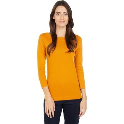 スリードッツ Three Dots レディース 長袖Tシャツ トップス 100% Cotton Heritage Knit 3/4 Sleeve British Tee Inca Gold