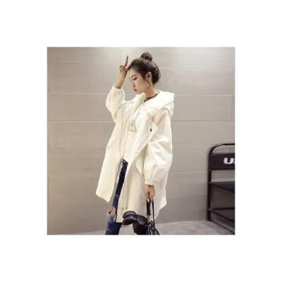 トレンチコート レディース アウター ロングジャケット コート 羽織 薄手 秋新作 ウエストゴム 着痩せ フード付き カジュアル