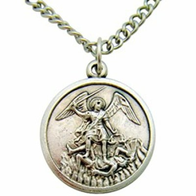 Saint Michael Protector Silver Tone Metal Pendant Italian Medal Gift One Inch W Stainless Steel Chain
