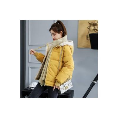 中綿コート ダウン風ジャケット レディース 厚手 ショート丈 綿入り シンプル フード付き アウター ゆったり 防寒 あったか おしゃれ