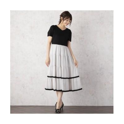 (Rose Tiara(L SIZE)/ローズティアラ エルサイズ)ティアード切替コンビワンピース/レディース ブラック