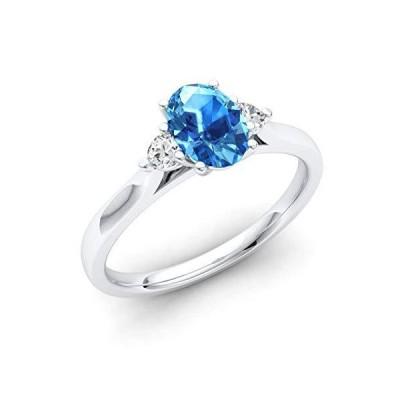 ダイアモンド ナチュラルと認定 オーバルカット ジェムストーンとダイヤモンド エンゲージリング 14K