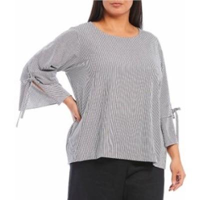 カルバンクライン レディース シャツ トップス Plus Size Stripe Grommet Tie Sleeve Top Black/Soft White