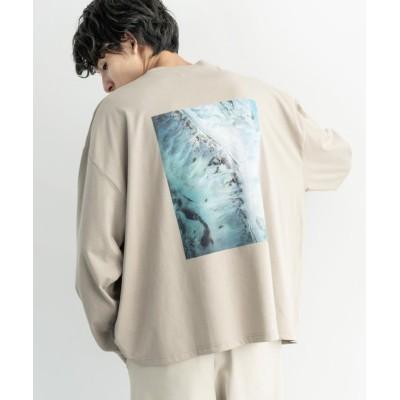 (Rocky Monroe/ロッキーモンロー)ロンT メンズ レディース Tシャツ 長袖 ビッグシルエット バックプリント グラフィック ネオン シンプル カジュアル 英字 ストリート ホワイト クルーネッ/ユニセックス ベージュ