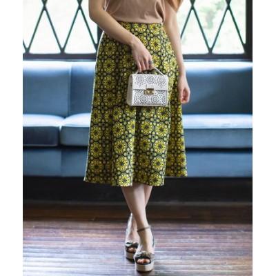 【Rythme KUMIKYOKU】モロッコタイルプリントジャカート フレアスカート