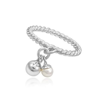 AeraVida Fashionable Cultured Freshwater White Pearl and Sphere Charms .925