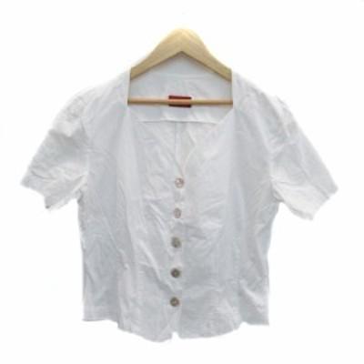 【中古】ケンゾー KENZO シャツ ブラウス Vネック 半袖 無地 M 白 ホワイト /HO36 レディース