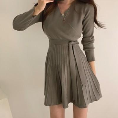 ミニワンピース ニット vネック 韓国 ファッション 春服 レディース ニットワンピース ウエストマーク フリルワンピース フレアワンピー