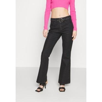 ミルクイット レディース デニムパンツ ボトムス FLARES EYELET BUCKLE BELT - Flared Jeans - charcoal charcoal