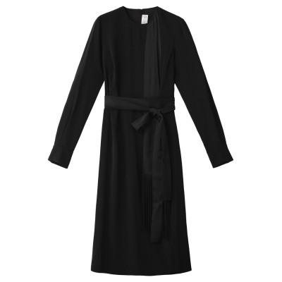 Victoria Victoria Beckham ヴィクトリア ヴィクトリア・ベッカム サテンクレープフリンジスカーフドレス レディース ブラック 8