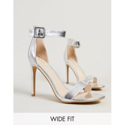 グラマラスワイドフィット Glamorous Wide Fit レディース サンダル・ミュール シューズ・靴 Barely There Heeled Sandal In Silver シルバーメタリック