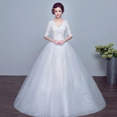 ウエディングドレス 結婚式 二次会 ウェディングドレス 安い プリンセス 長袖 エンパイア 花嫁 ドレス 披露宴 ロングドレス ブライダル 白 Vカット