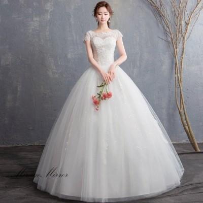 ウェディングドレス 安い 結婚式 花嫁 二次会 ロングドレス パーティードレス プリンセスライン ウエディングドレス ホワイト 大きいサイズ 細身 フラワーブラ