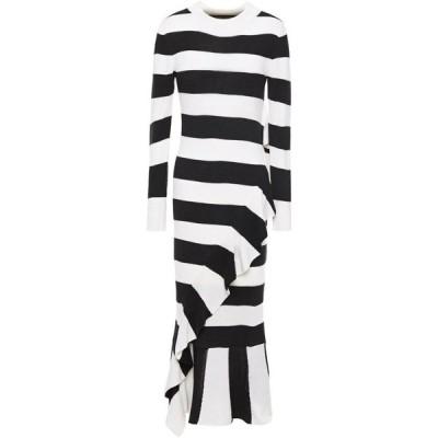 ペーパーロンドン PAPER London レディース ワンピース ミドル丈 ワンピース・ドレス cover ruffled striped wool-blend midi dress Black