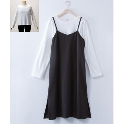 大きいサイズ 2点セット(キャミワンピ+Tシャツ) ,スマイルランド, ワンピース, plus size dress