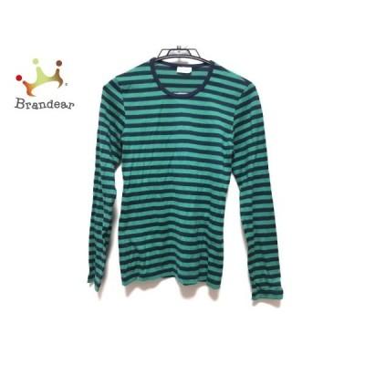 マリメッコ marimekko 長袖Tシャツ レディース グリーン×ダークネイビー ボーダー 新着 20200526