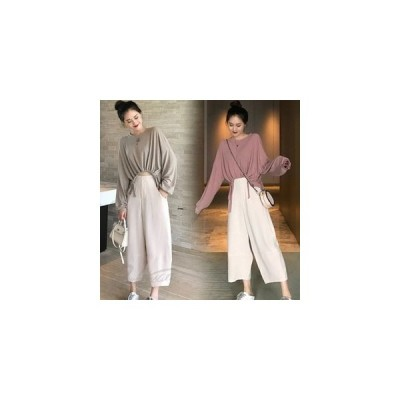 シャツレディース春秋長袖カジュアルシャツきれいめおしゃれ韓国風ゆったり通勤大きいサイズ腹出し2色七分丈パンツ